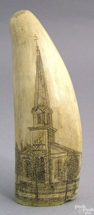 Scrimshaw whales tooth 19th c