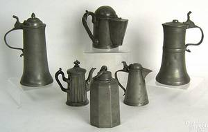 Five pewter flagons and teapots 19th c