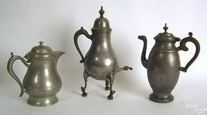 Two pewter coffee pots 19th c