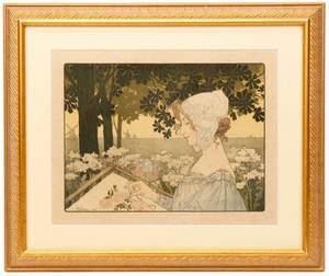 PrivatLivemont Art Nouveau Girl in Bonnet 1904
