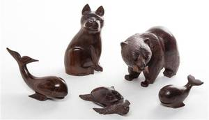 Five Carved Hardwood Animals