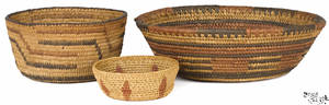 Three Native American basketry bowls 20th c