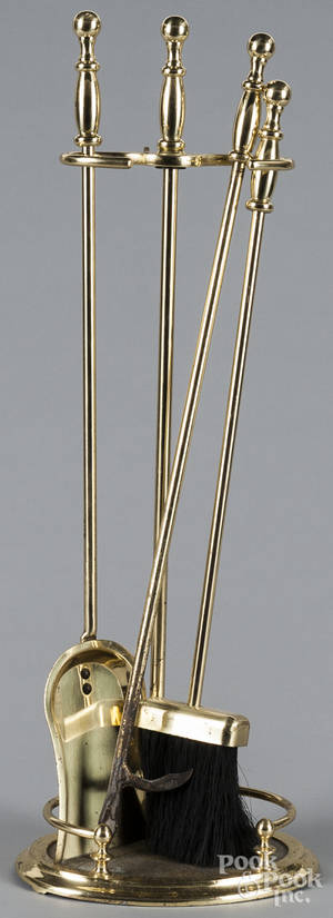 Set of brass fire tools