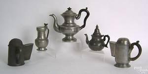 Three pewter coffee pots 19th c
