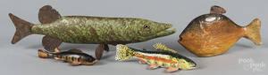 Four contemporary fish decoys