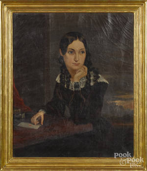 American oil on canvas portrait of a young woman