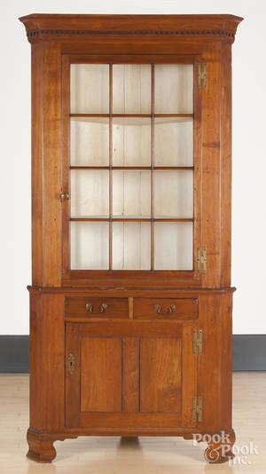 Pennsylvania walnut twopart corner cupboard