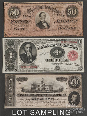 Confederate paper currency and colonial indented bills