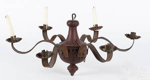 Modern tin and painted wood chandelier
