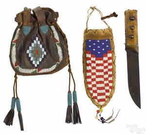 Native American Indian beadwork bag 19th c