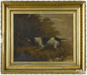 American oil on canvas of a hunting dog 19th c