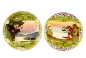 Group Of 2 Art Nouveau Slovakian Majolica Plates