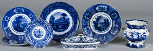 Five flow blue plates