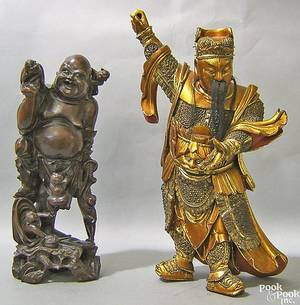 Giltwood carved figure of a samuri warrior