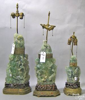 Pair of massive jade carved jars with cover converted to electric table lamp
