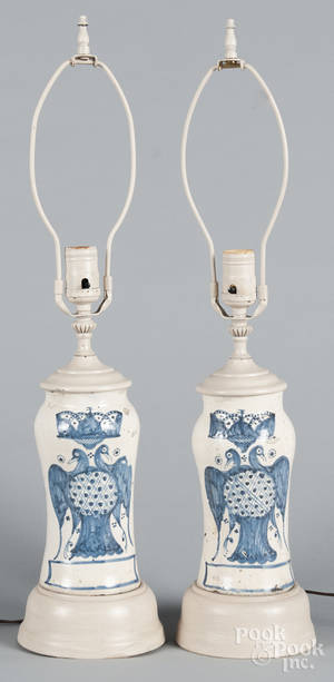 Pair of Delft table lamps