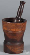 Turned lignum vitae mortar and pestle
