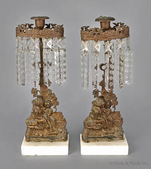 Pair of gilt bronze candle holders