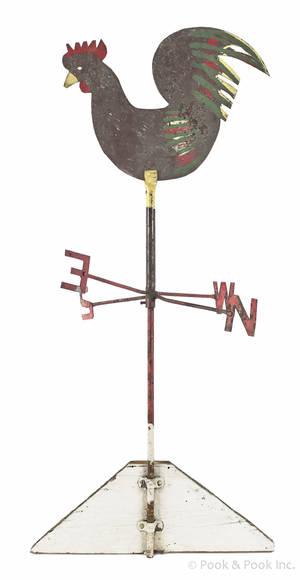 Sheet iron rooster weathervane