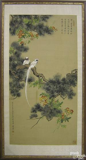 Japanese painted silk panel