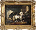 Continental oil on canvas stable scene
