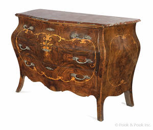 French burl veneer marble top commode