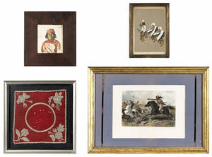Group of framed Native American items