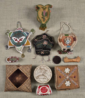 Group of Native American beaded and woven souvenirs