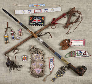Group of Native American beaded pouches and accessories