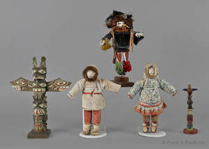 Two Northwest Coast carved and painted totem poles