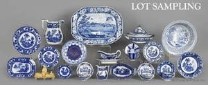 Large group of blue and white china