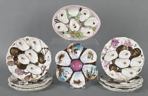 Set of six Haviland Limoge oyster plates