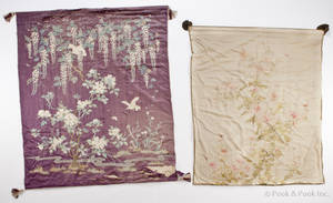 Three large silk embroidered wall hangings