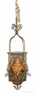 Victorian jeweled brass chandelier with etched amber panels decorated with birds