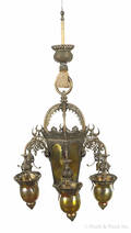 Victorian Moorish style brass and gold iridescent glass chandelier