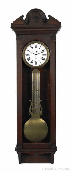 Victorian walnut pinescapement regulator clock