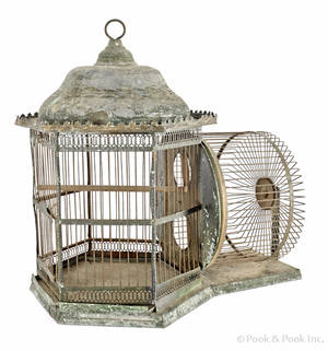 Painted tin squirrel cage