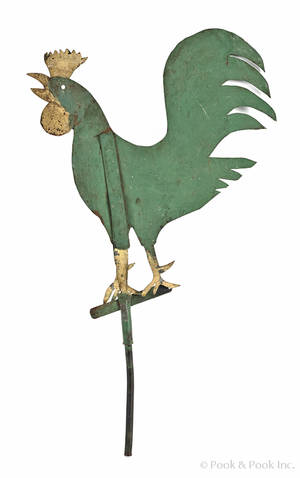 Painted sheet zinc rooster weathervane