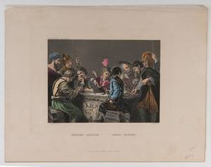 Group of Seven Prints of Soldiers Gambling Various