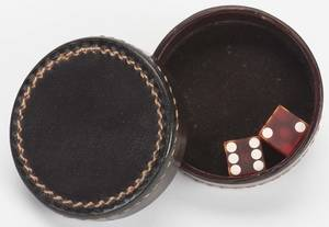 Leather Chinese Dice Box with Dice American ca 1940