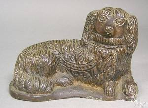 Ohio sewer tile figure of a recumbent spaniel late 19th c
