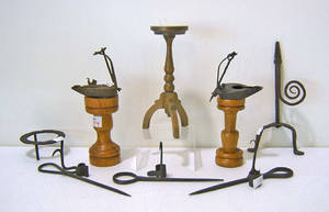 Group of wrought iron to include 2 fat lamps