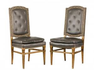 Pair of Louis XVI Style Gray Leather Side Chairs
