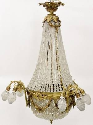 French Empire Gilt Bronze Basket Chandelier