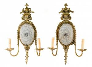 Pair of French Gilt Bronze  Crystal Wall Sconces
