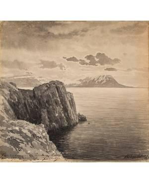 ALBERT NIKOLAYEVICH BENOIS RUSSIAN 18521936 Cliffside Seascape