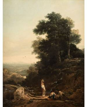 AUGUSTUS WALL CALLCOTT BRITISH 17791844 Idyllic Landscape at the Citys Edge