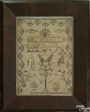Bucks County Pennsylvania silk on linen needlework sampler dated 1830