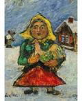 DAVID BURLIUK RUSSIANAMERICAN 18821967 Woman in a Yellow Kerchief with a Rooster