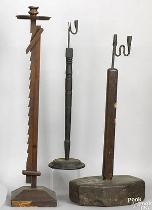 Two wrought iron and wooden rush light candleholders 19th c